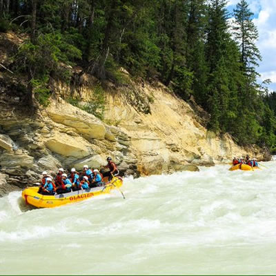 Whitewater rafting down the Kicking Horse River, near Golden.