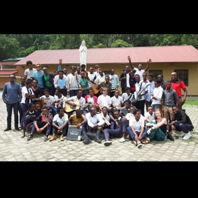 Selkirk College Contemporary Music & Technology Program instructor Gilles Parenteau and students Amanda Jane Cawley, Blake Unruh and Mitchell Hahn with their Nyundo School of Music peers during a visit to Rwanda this past March.