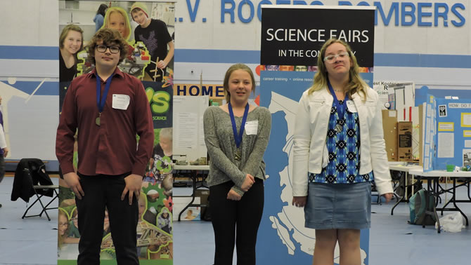 Students Dylan Peil, Marisa Price and Johanna Brochhagen will be attending the Canada-wide Science Fair in Montreal from May 18-20.