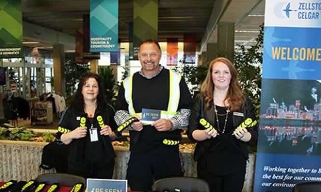 Celgar BE SEEN campaign team members (L-R) Sandy Hinter, Mark Goebel and Rose Leslie visited the Selkirk College Castlegar Campus at the end of October to talk to students and staff about safety on area roadways.