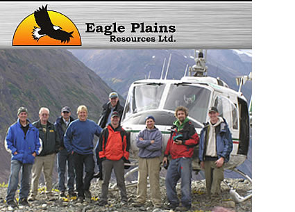 Photo of a helicopter and Eagle Plains logo