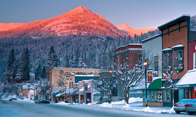 Small-town Rossland on a winter's day.