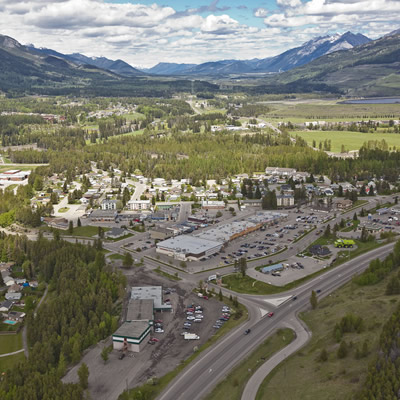 An aerial view of the District of Sparwood.