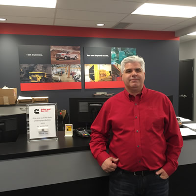 Manager Mike Miller proudly shows off the new Cummins facility in Sparwood.