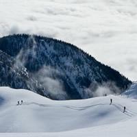 Stellar heliskiing snow-capped mountain