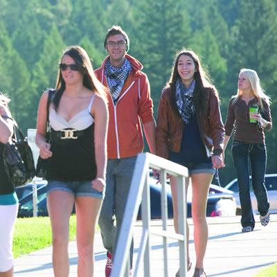 Students walking to school.