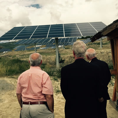 BC Mines and Energy Minister Bill Bennett, Kimberley mayor Don McCormick and EcoSmart CEO Michel de Spot watch as the new solar panels come to life at the Kimberley SunMine.