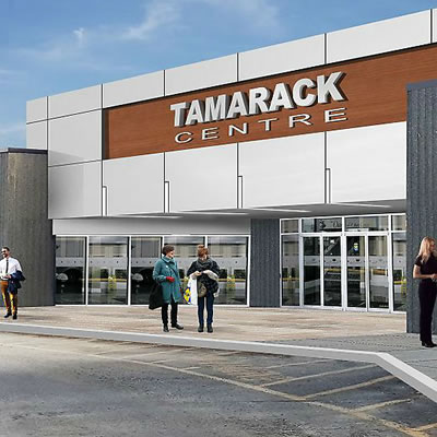 Artist's rendition of the proposed updates to the exterior of Tamarack Centre.