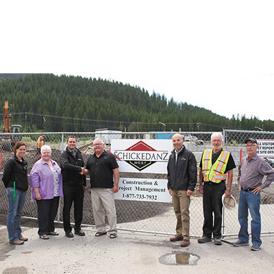 (From left to right) Sparwood Councillors Jenna Jensen and Lois Halko, Mark Nelson, Tim Horton's franchise owner, Sparwood Mayor Cal McDougall, Shickedanz West's  Roland Kraemer  and Ken Willimont, Construction Manager and Sparwood Councillor Brad Bowen.