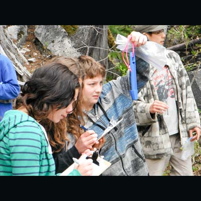 Picture of grade eight students participating in Know Your Watershed program.
