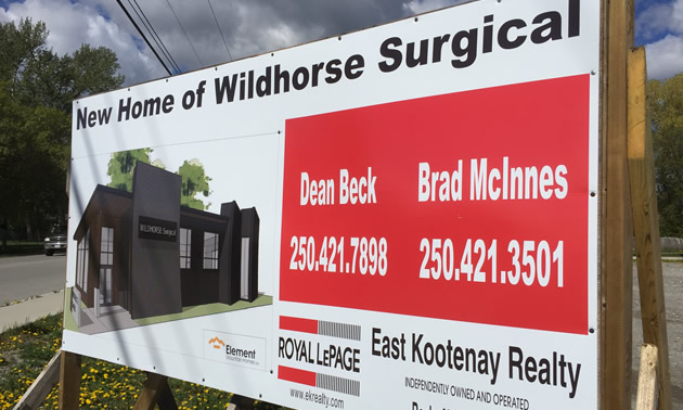 Real estate sign announcing new home of Wildhorse Surgical.