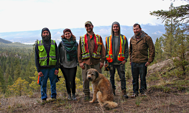 Mineral Mountain Ziplines and Fairmont Hot Springs Resort team up for construction of a new 6-track zipline course. Left-Right: Brad Haga, Rachel Dick, Jay Manton, Mike Lamberton, Justin Keitch.