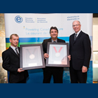 Photo of Columbia Power's Chief Operating Officer, Frank Wszelaki and Health and Safety Manager, Andre Noel (L) are pictured alongside Jim Burpee (R), President and Chief Executive Officer of the Canadian Electricity Association (CEA) in Ottawa, Ontario proudly accepting Columbia Power's 2012 CEA President's Award of Excellence for Employee Safety, Silver Award Level and the CEA Vice President's Award of Safety Excellence, Bronze Level for Generation.