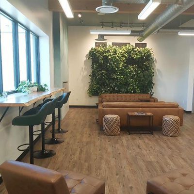 Co-working space with wood floors, row of tall chairs along window, plant in background.