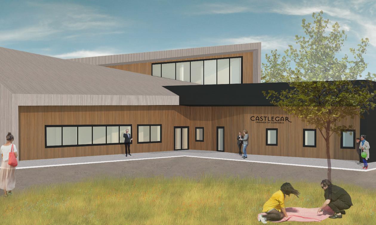 Rendering for Castlegar's new chamber of Commerce/Visitor Centre building.