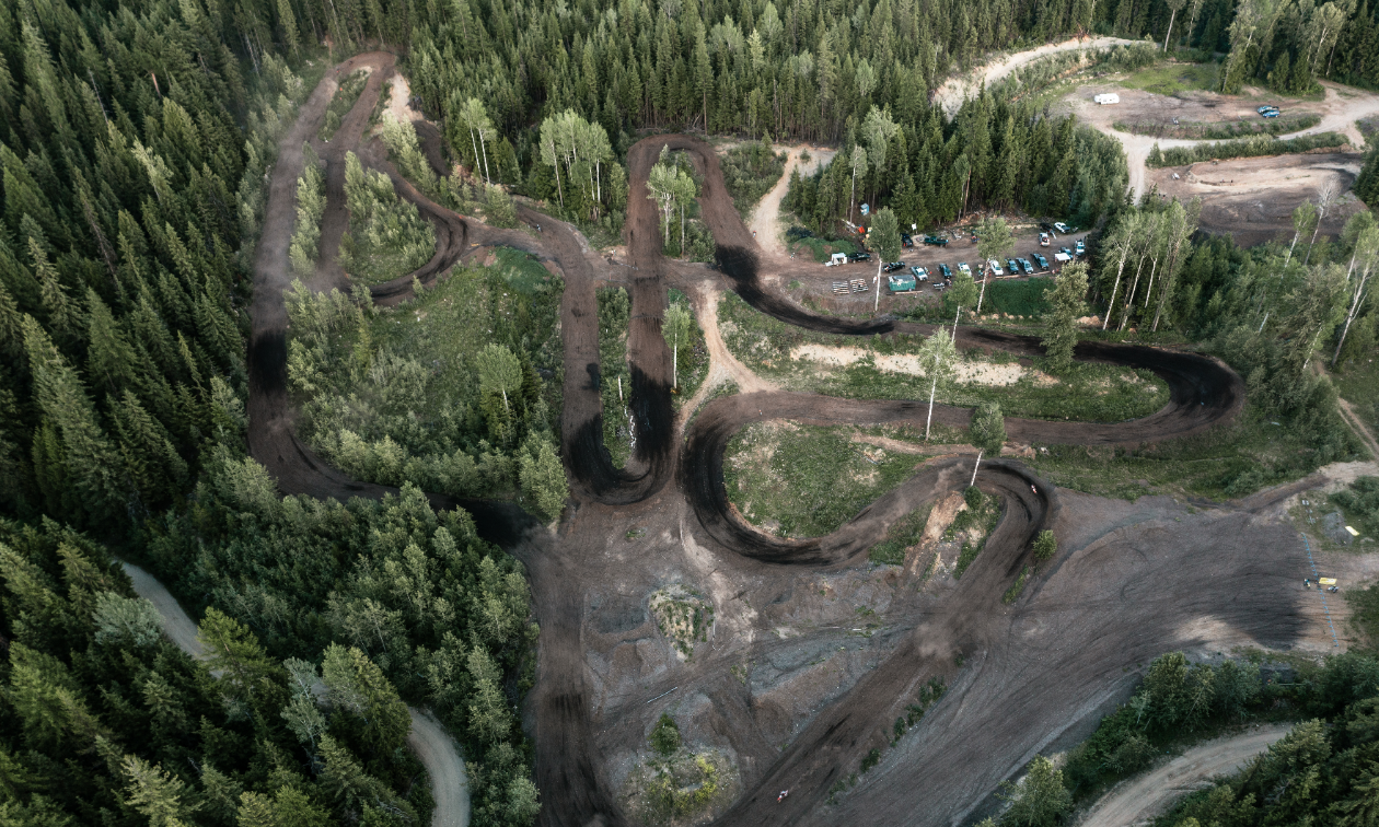 An aerial shot of the West Kootenay Recreational Dirt Bike and ATV Society motocross track.