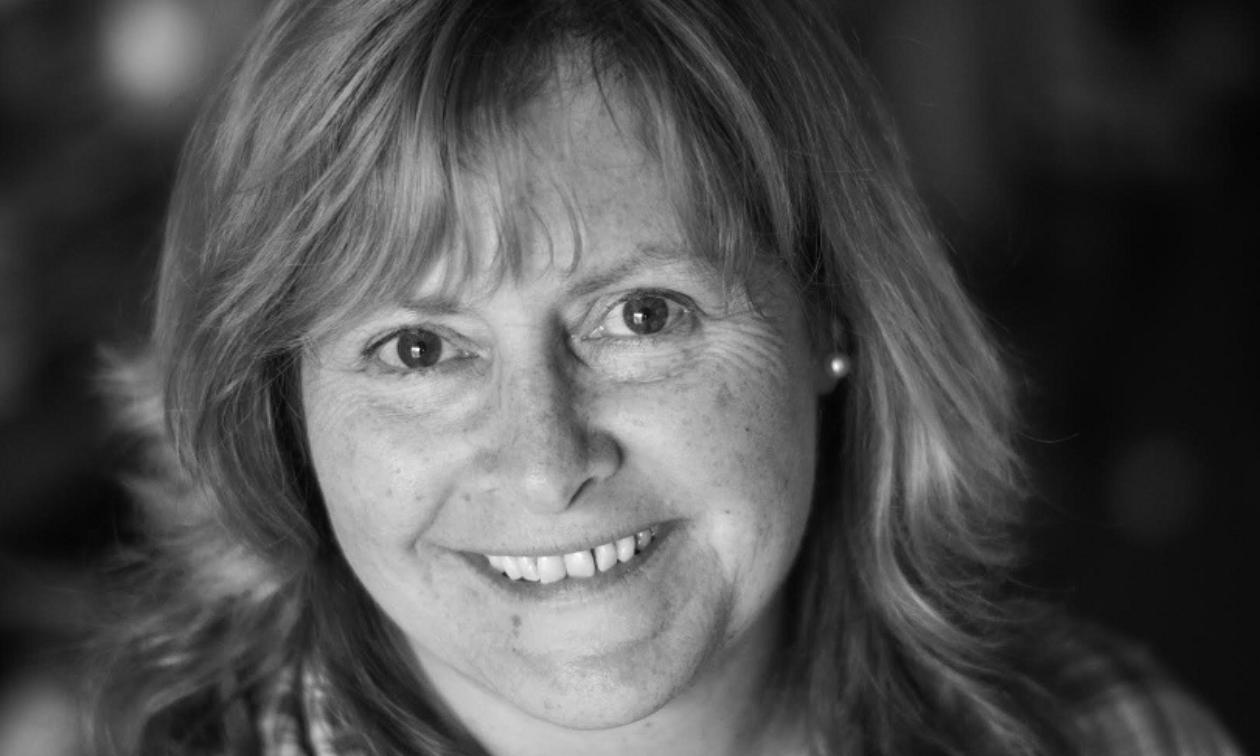 Karma Halleran in a black-and-white photo.