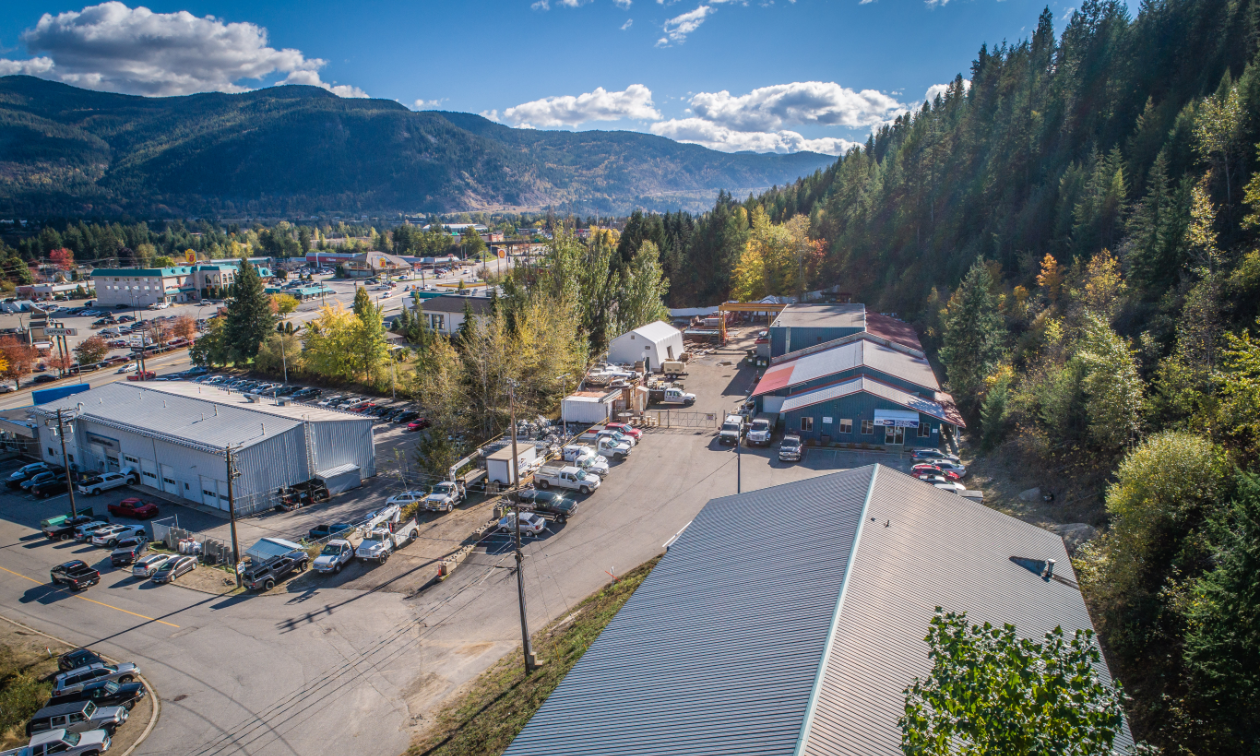 Martech's head office in Castlegar is set in a valley with several large buildings.