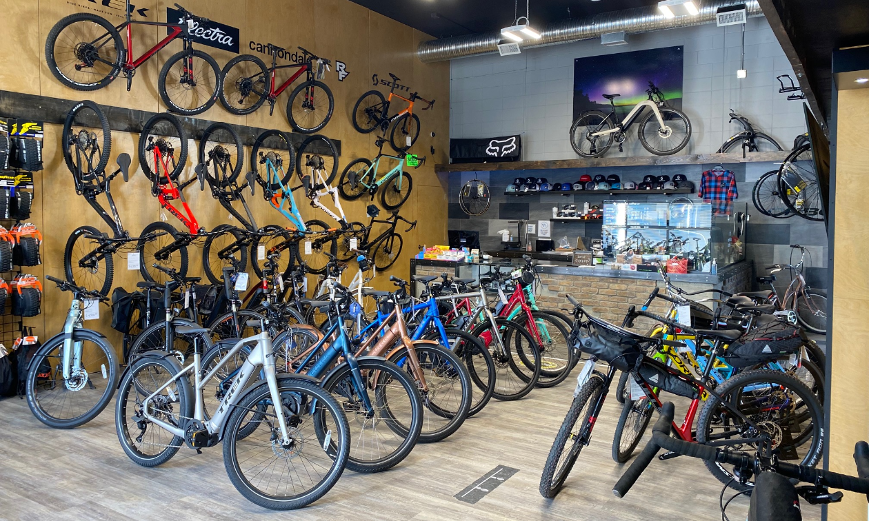 A line of bicycles inside Northstar Bicycle Co. in Cranbrook, B.C.