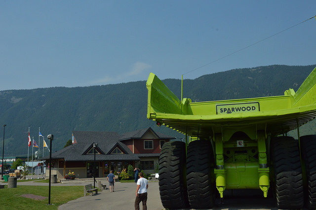 The big green haul truck parked at the Sparwood Chamber of commerce.
