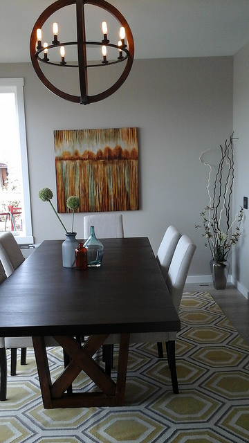 A dining room in the Cenova show home in Calgary.