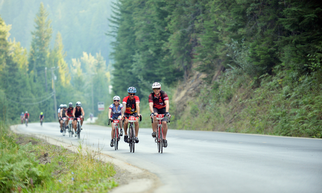 people riding their bikes in the Kootenays