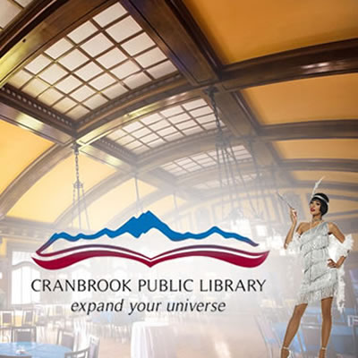 Picture of the inside of the Royal Alexandra Hall and the Cranbrook Public Library logo.