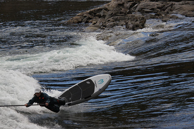 Andrea Ryman goes SUP river surfing in Trail, B.C.