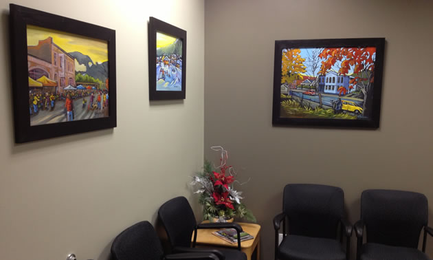 Artwork on the walls of a reception area.