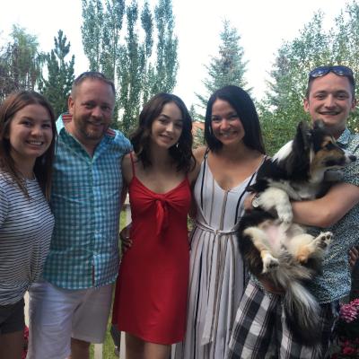 (L to R) Kelsey Smith (longtime partner to son, Dalton) Bob Bullock, Raeanna Bullock (daughter), Dorthea Bullock (wife), Dalton Bullock (son) and Duke (granddog).