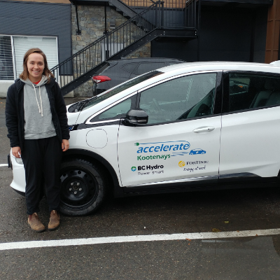 Emma Genest, outreach co-ordinator for Accelerate Kootenays, allowed curious Kootenay drivers the opportunity to test drive a Chevrolet Bolt BEV.