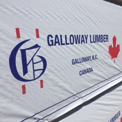 A big blue letter G is the logo for Galloway Lumber