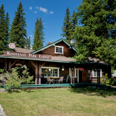 Kootenay Park Lodge is an old wooden building in nature.