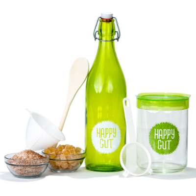 Happy Gut water kefir is a live probiotic sparkling beverage.