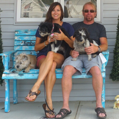 Erin Thompson and Brian Sondergaard with their dogs
