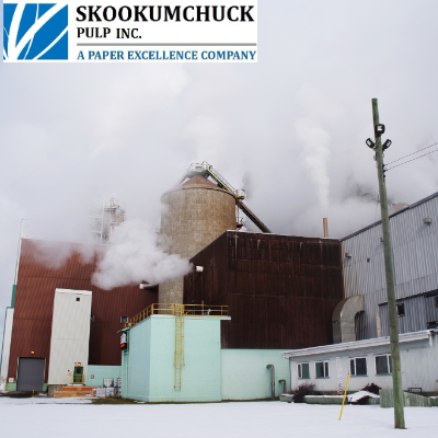 An exterior aspect of the process shows the pulp storage tower (centre), along with the maintenance, power and recovery, and pulping process offices (lower right). Excess thermal energy is released to the environment in the form of steam energy.