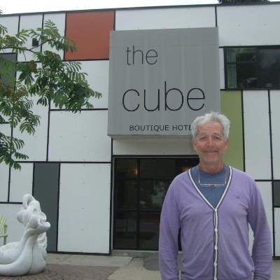 Owner and manager of The Cube Hotel, Louis-Marc Simard, provides a more sustainable option than a regular hotel room for a better price.