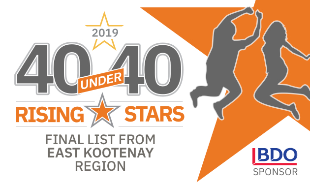 logo for the 40 under 40 list, with Rising Stars written in orange writings