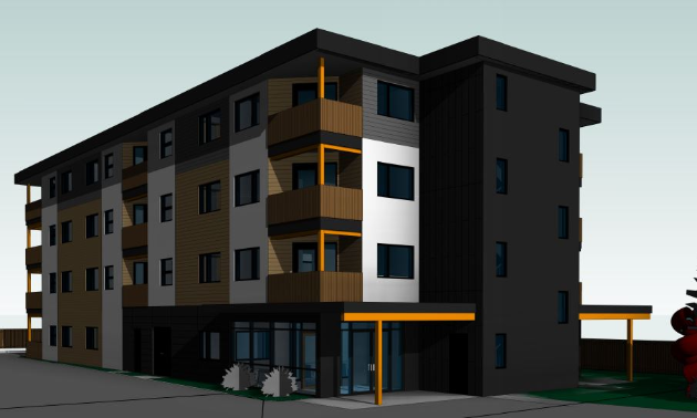 An artist's depiction of what the new affordable housing apartment building will look like in Cranbrook.