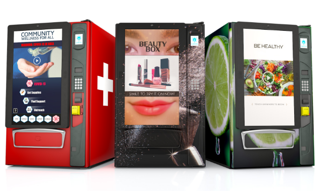 Three colourful vending machines with screens.