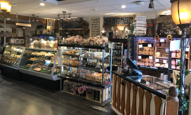 The interior of Kimberley City Bakery has many kinds of pastries on display for purchase.