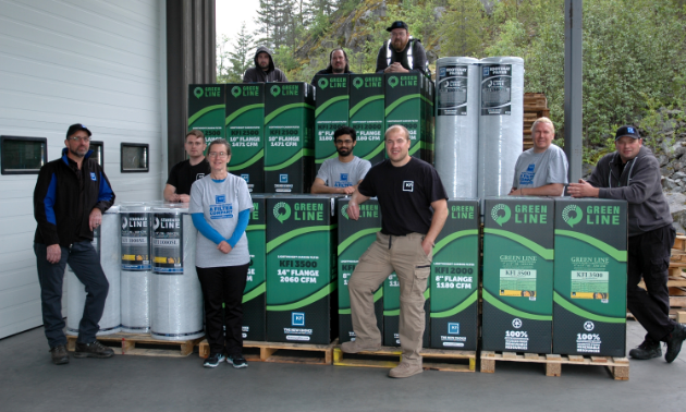 The Kootenay Filter Inc. team. (L to R):  Front row: Rick Arnett, Judy Kress, Kyle Downey Middle row: Morgan Rawick, Paras Chouhan, Mark Shukin, Marco Gerhardt Back row: Bryan Richardson, Matt Phillips, Kyle Grattan