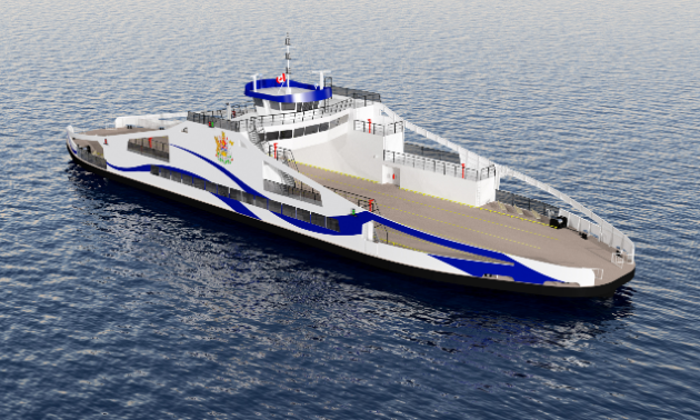 A computer-generated rendering of the new Kootenay Lake ferry.