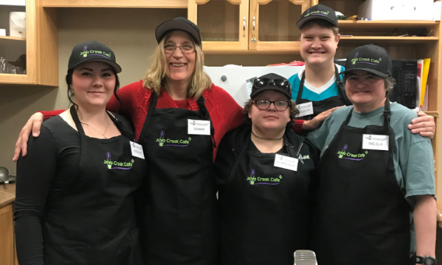 (L to R) Kieran O'Grady, Donna Schwartz, Kimberly Earl, Felicia McKenzie and Sheila Neidig work at Java Creek Café inside Joseph Creek Care Village in Cranbrook.