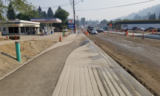 Widened sidewalks are just one of the many upgrades that have been completed on Castlegar's Columbia Avenue.