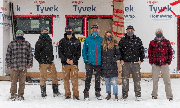 (L to R) Riley Wells (lead carpenter), Geoff Little (carpenter), Indy Booth (carpenter), Robin Brazenall (director), Amy Brazenall (director), Cailem Orcutt (site superintendent), and Ron Cascanette (carpenter).