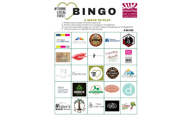 A bingo card with a list of businesses.