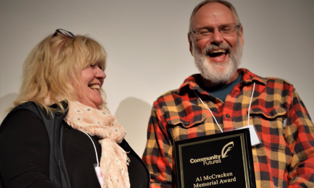 Bob Wright was presented with the Al McCracken Memorial Award at the 2017 Community Futures British Columbia Conference in Quesnel, B.C. on September 15, 2017.