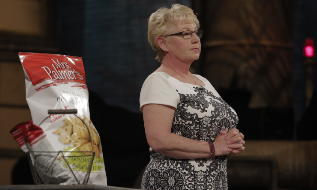 Brenda Palmer brought a giant bag of Mrs. Palmer's Pita Chips to showcase her product to the dragons.