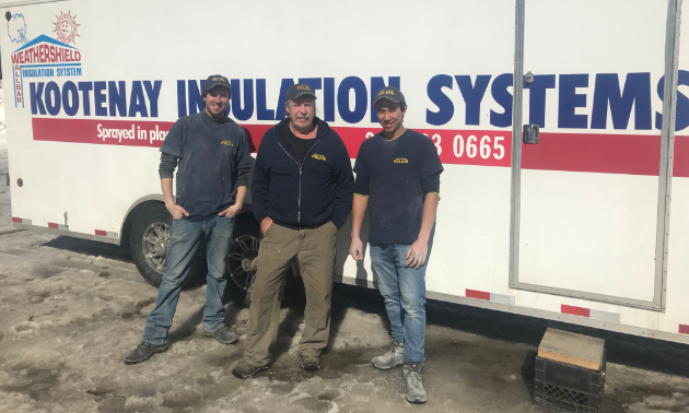 Dan Moberg (centre) is owner, manager, labourer, janitor and CEO of Kootenay Insulation Systems Ltd.